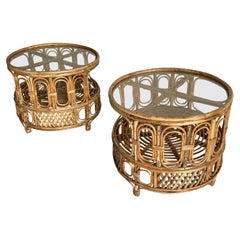 Pair of Franco Albini Style Round Rattan Side or End Tables, Italy, 1950s