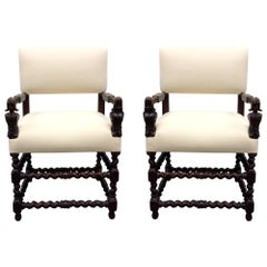Pair of Franco Flemish Baroque Style Walnut Armchairs
