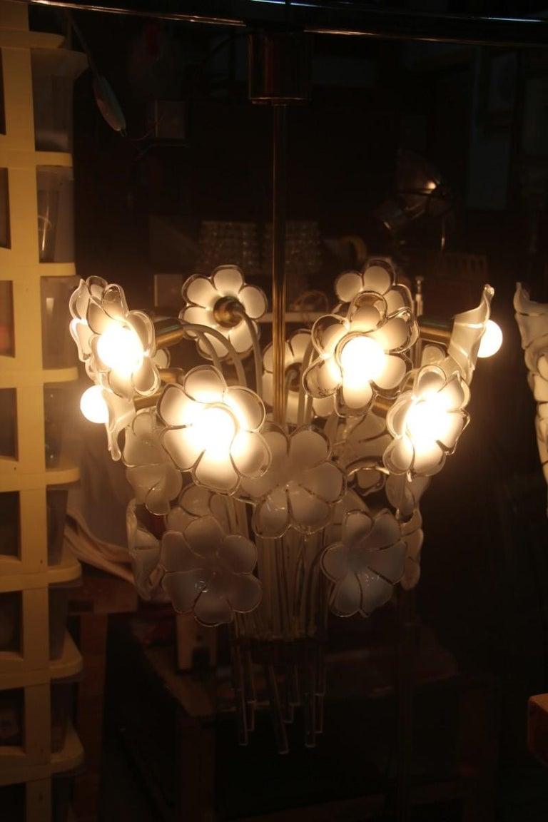 Pair of Franco Luce Italian Chandelier  Murano Glass Gold  White Flowers 1970 For Sale 6