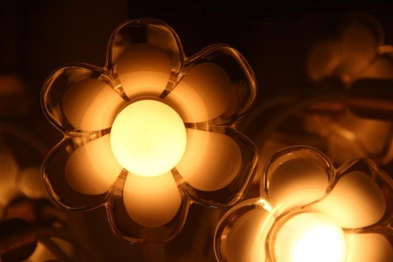 Pair of Franco Luce Italian Chandelier  Murano Glass Gold  White Flowers 1970 For Sale 8