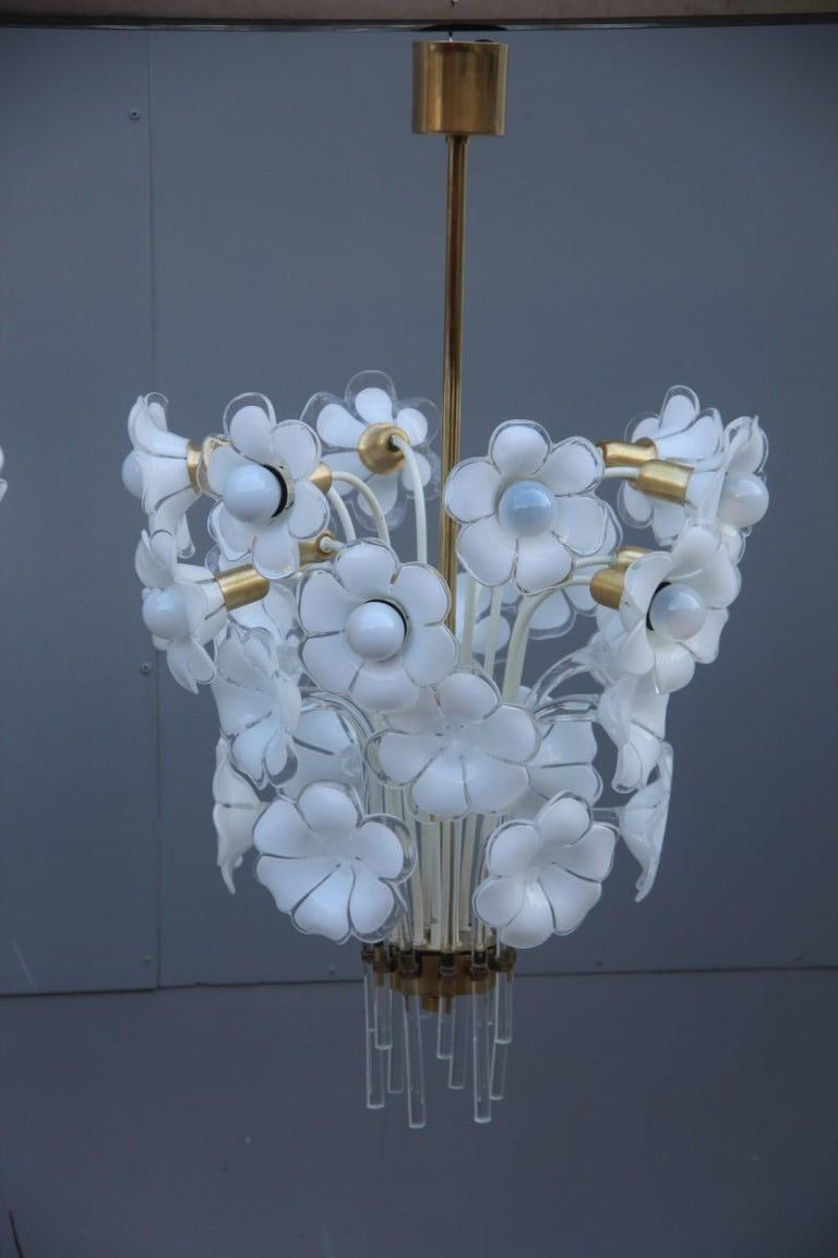 Franco Luce Italian chandelier, 1970s Murano Art Glass chic and very particular, handmade flowers in Murano glass, a structure in brass and lacquered metal, truly unique and elegant in its kind.