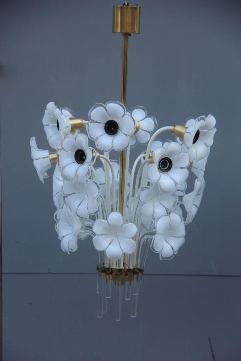 Mid-Century Modern Pair of Franco Luce Italian Chandelier  Murano Glass Gold  White Flowers 1970 For Sale