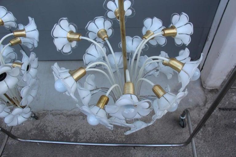 Pair of Franco Luce Italian Chandelier  Murano Glass Gold  White Flowers 1970 For Sale 1