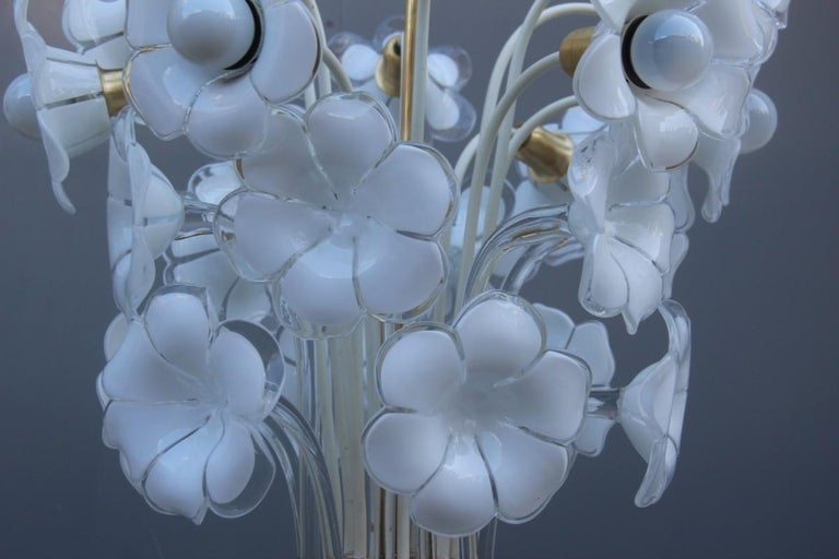 Pair of Franco Luce Italian Chandelier  Murano Glass Gold  White Flowers 1970 For Sale 2