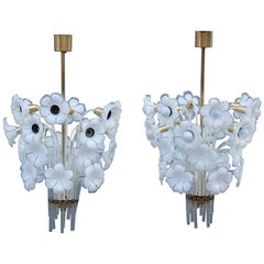 Pair of Franco Luce Italian Chandelier  Murano Glass Gold  White Flowers 1970