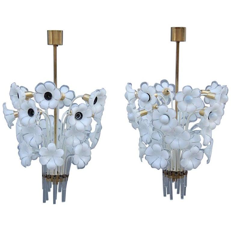 Pair of Franco Luce Italian Chandelier  Murano Glass Gold  White Flowers 1970 For Sale