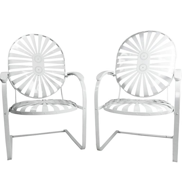 Pair of Francois Carre Vintage Sunburst Cantilevered Chairs