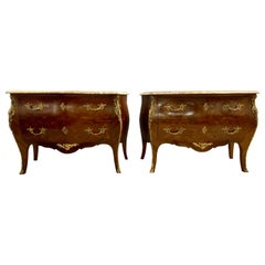 Pair of Francois Linke Signed Bombe Inlaid Commodes Nightstands