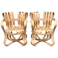 Pair of Frank Gehry Bentwood Maple Cross Check Armchairs for Knoll, 1993