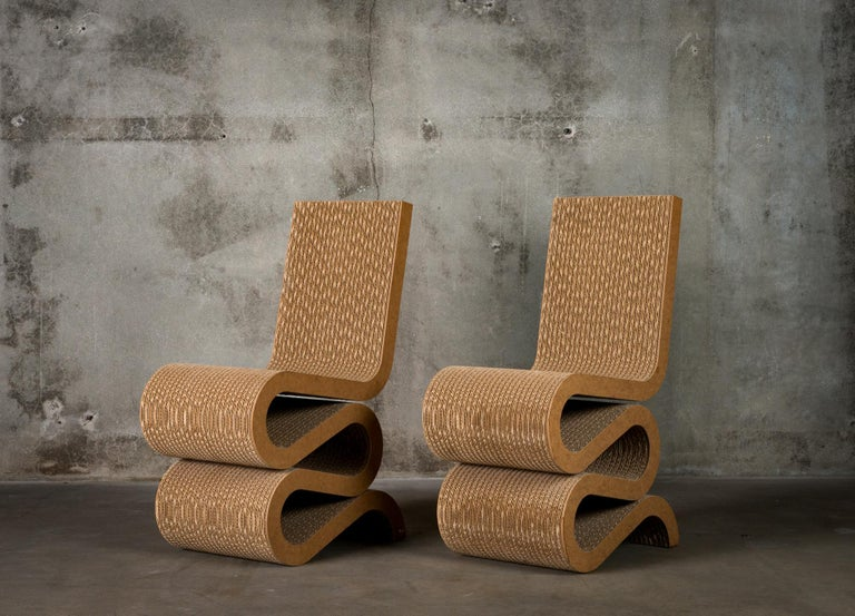 Pair of Frank Gehry 'Wiggle' Chairs In Good Condition For Sale In Los Angeles, CA