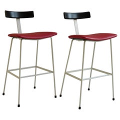 Pair of Frank Guille Kandya Program Stools 1958 in Red and Black
