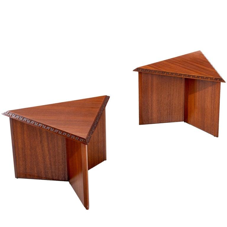 Pair of Frank Lloyd Wright Low Tables For Sale
