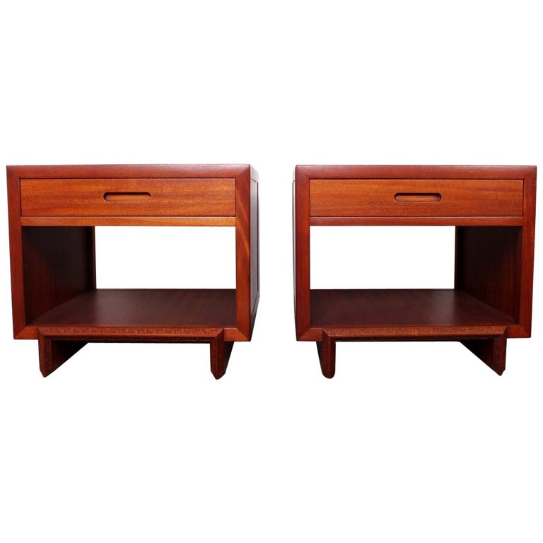 """Pair of Frank Lloyd Wright """"Taliesin"""" Tables / Nightstands For Sale"""