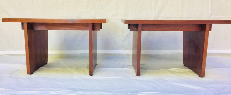 Mid-Century Modern Frank Rohloff Walnut and Black Resin Studio End Tables California 1960s For Sale