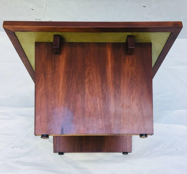 Mid-20th Century Frank Rohloff Walnut and Black Resin Studio End Tables California 1960s For Sale