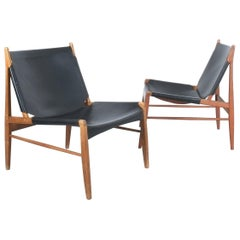 Pair of Franz Xaver Lutz Chimney or Hunting Chairs with Black Original Leather