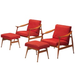 Pair of Fratelli Reguitti 'Lord' Lounge Chairs with Ottoman