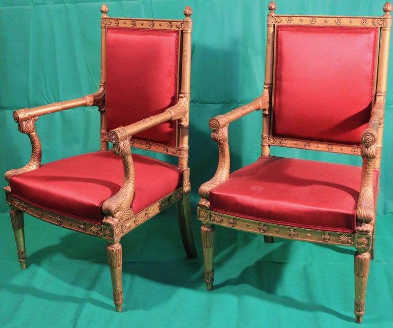 A superb pair of gilt armchairs, France, Napoleon III period, signed Quignon.