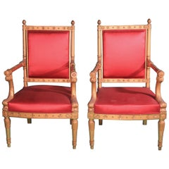 Pair of Frederic Quignon 19th Century Napoleon III Giltwood French Armchairs