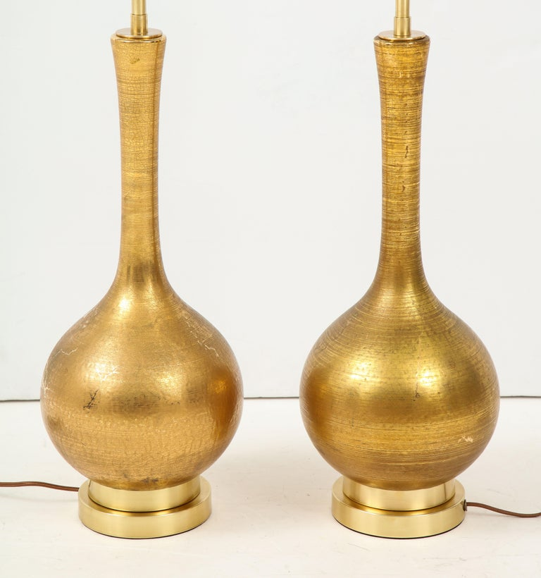 American Pair of Frederick Cooper Gold Ceramic Lamps For Sale