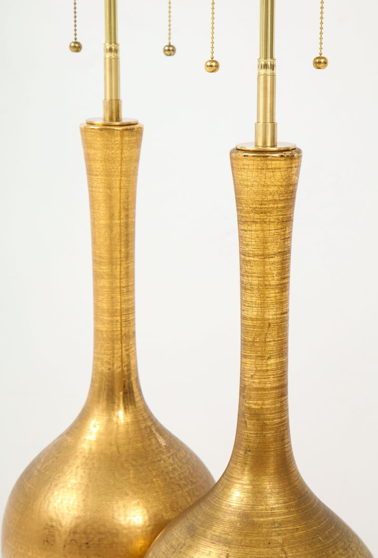 Pair of Frederick Cooper Gold Ceramic Lamps In Good Condition For Sale In New York, NY