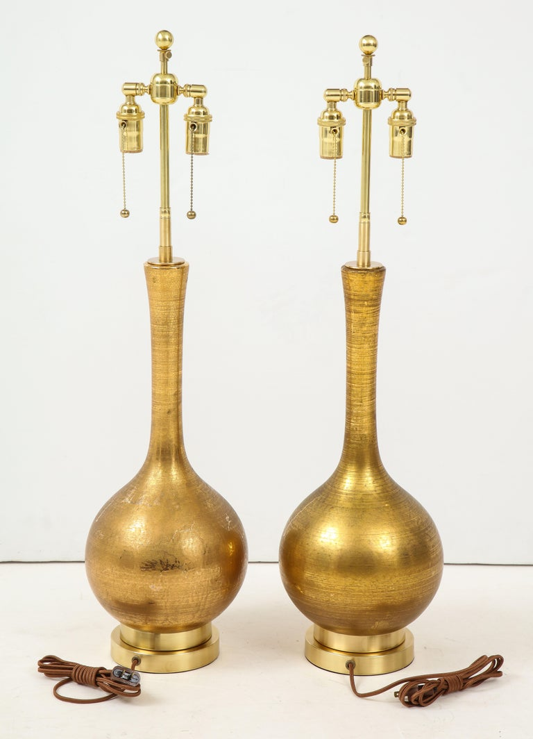 Mid-20th Century Pair of Frederick Cooper Gold Ceramic Lamps For Sale