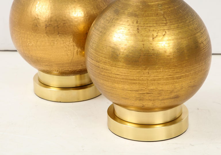Pair of Frederick Cooper Gold Ceramic Lamps For Sale 1