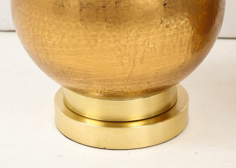 Pair of Frederick Cooper Gold Ceramic Lamps For Sale 3