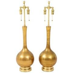 Pair of Frederick Cooper Gold Ceramic Lamps