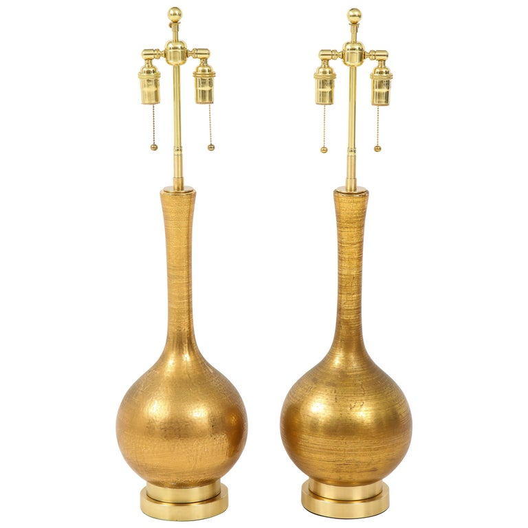 Pair of Frederick Cooper Gold Ceramic Lamps For Sale