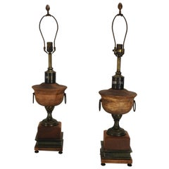 Pair of Frederick Cooper Metal and Wooden Lamps, 20th Century
