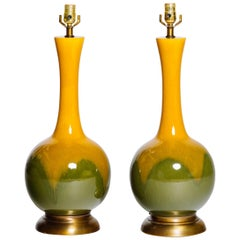 Pair of Frederick Cooper Mustard & Moss Glazed Ceramic Lamps, 1960s