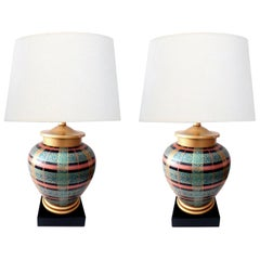Pair of Frederick Cooper Ovoid-Form Lamps with Plaid Decoration