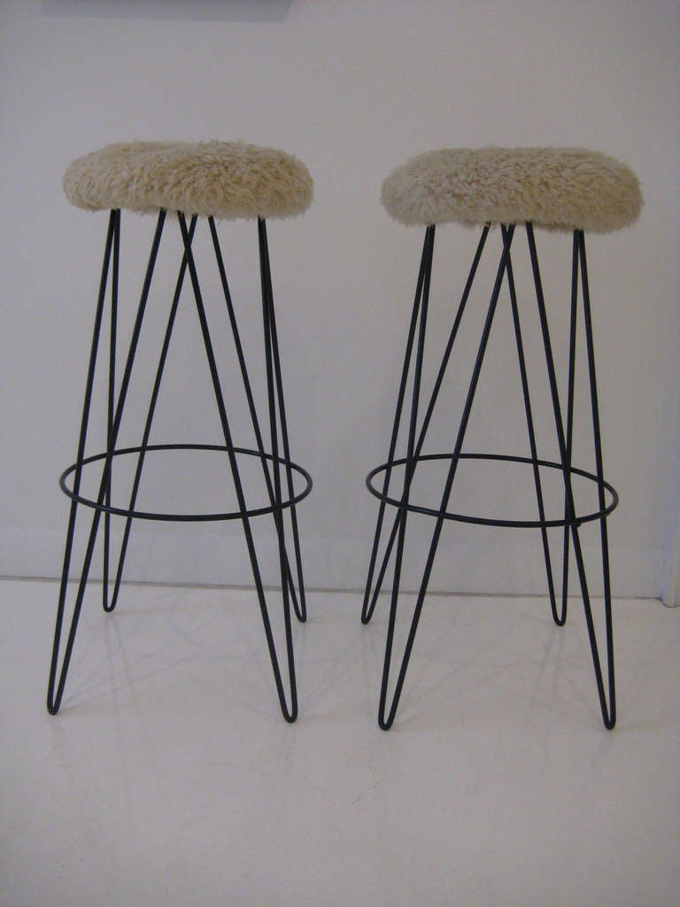 American Pair of Frederick Weinberg Bar Stools For Sale
