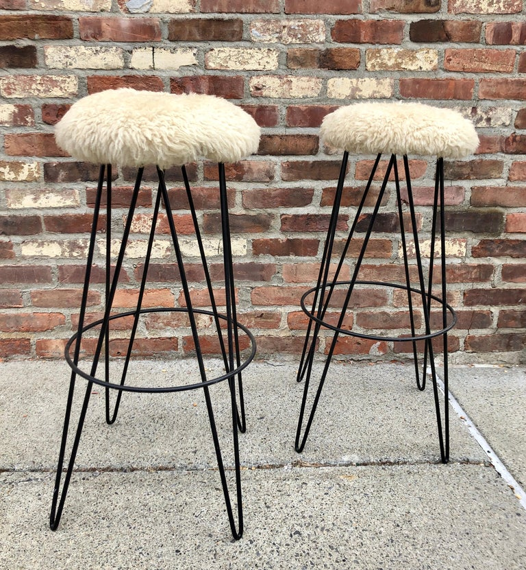 Mid-20th Century Pair of Frederick Weinberg Bar Stools For Sale