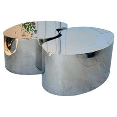 Pair of Free-Form Coffee Tables in Stainless Steel