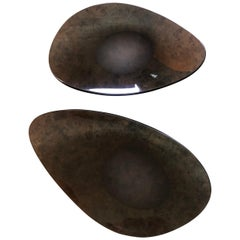 Pair of Freeform Sculptural Smoke Glass Bowls