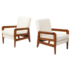 Pair of Freespan Wood Frame Armchairs, France, 1960's
