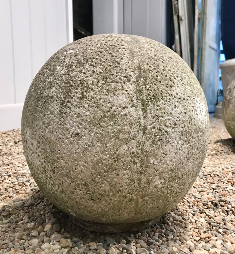Pair of French Mossy Cast Stone Balls For Sale 6