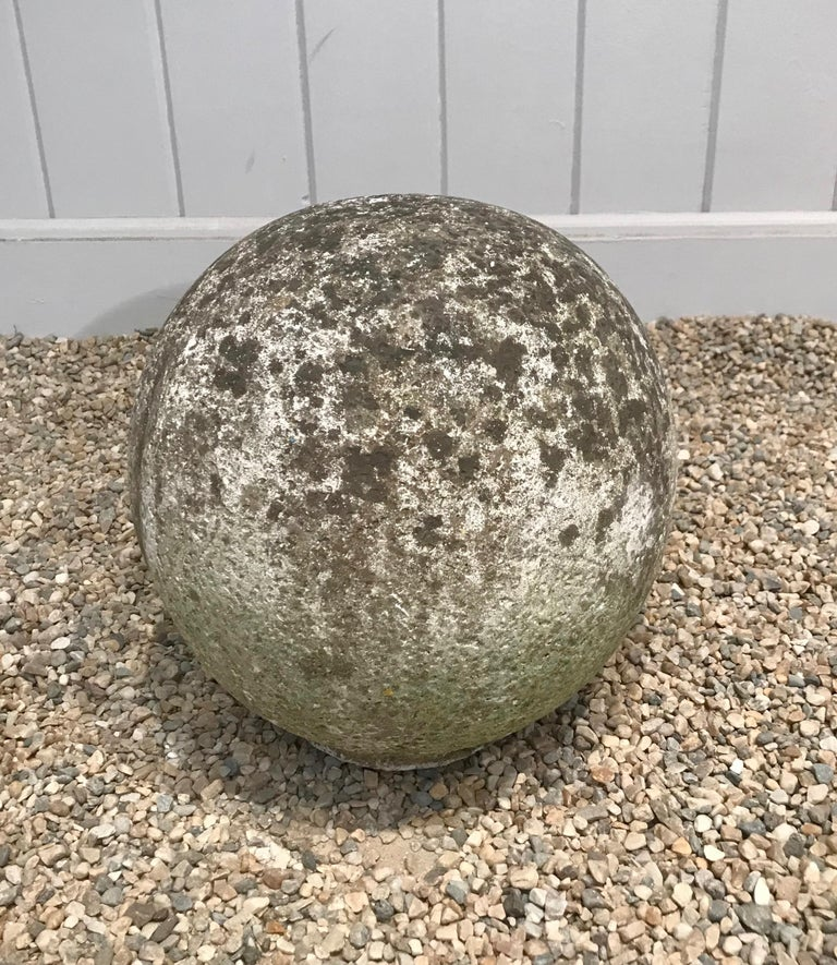 Pair of French Mossy Cast Stone Balls For Sale 10