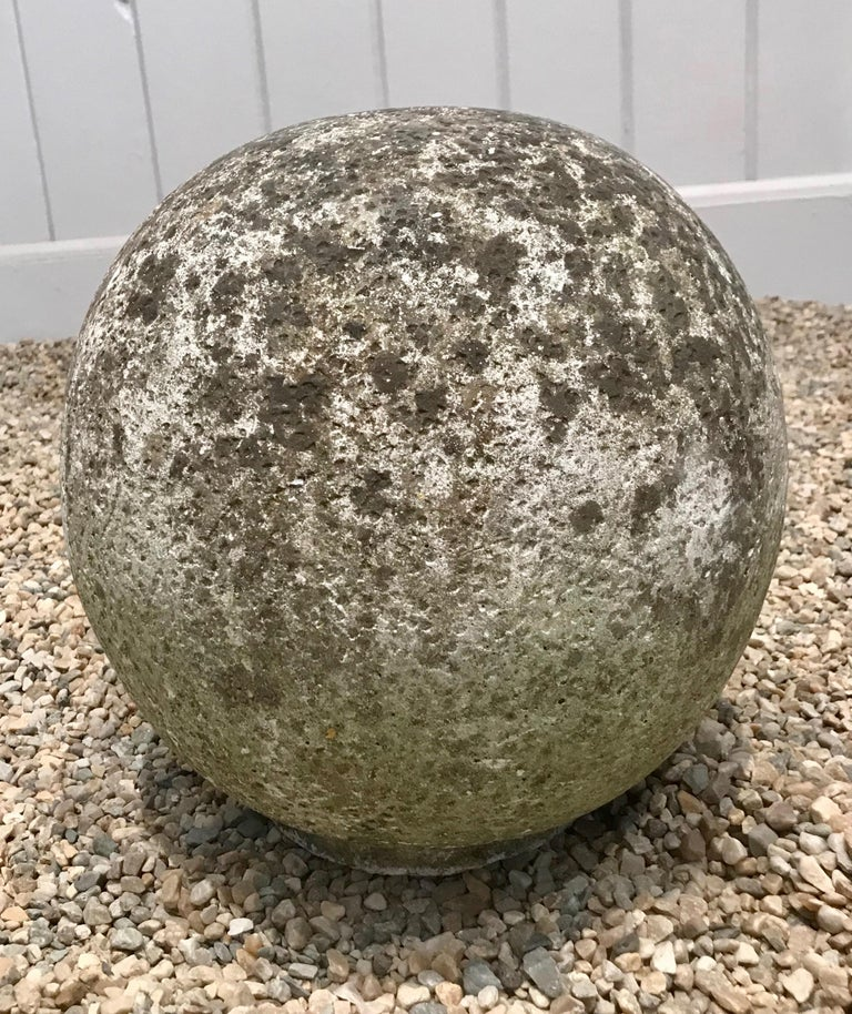 Pair of French Mossy Cast Stone Balls For Sale 14