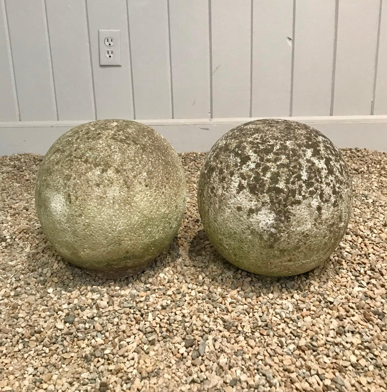 20th Century Pair of French Mossy Cast Stone Balls For Sale