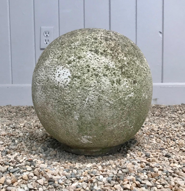 Pair of French Mossy Cast Stone Balls For Sale 5