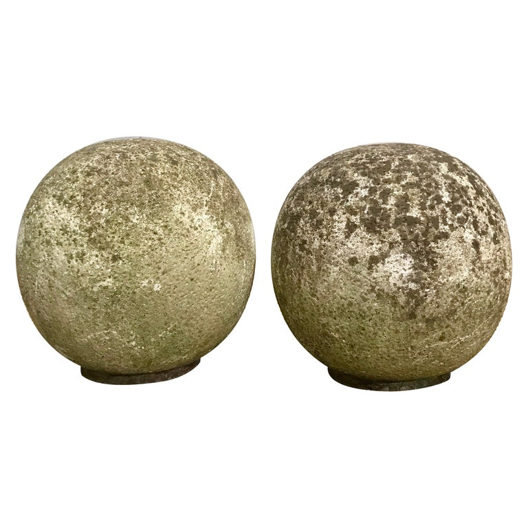 Pair of French Mossy Cast Stone Balls For Sale