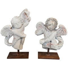 Pair of French 15th Century Stone Angel Statues