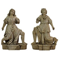 Pair of French 17th Century Weathered Oak Baroque Angel Figures