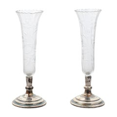 Pair of French 1820s Restauration Period Crystal Bud Vases with Silver Bases