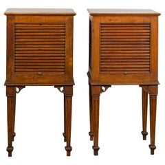 Pair of French 1830s Restauration Walnut Tambour Door Tables with Tapered Legs