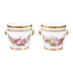 Pair of French 1840s Louis-Philippe Paris Porcelain Cachepots with Floral Décor