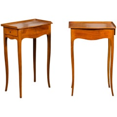 Pair of French 1860s Napoleon III Period Walnut Side Tables with Lateral Drawers